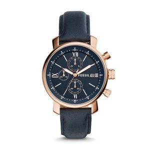 Fossil Rose Gold & Navy Chronograph Watch